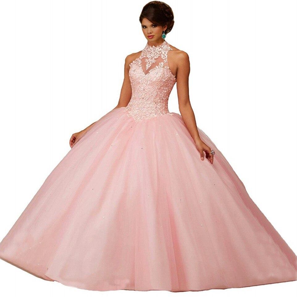 Cuello alto sweet 16 vestidos de quinceañera rosa princesa balón ...
