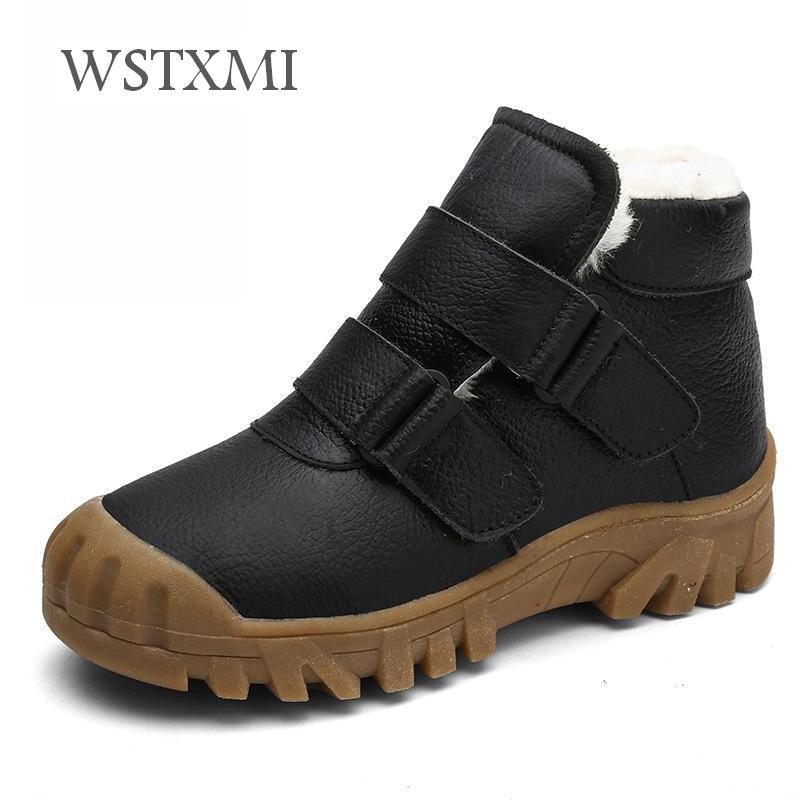 2019 Winter Kids Boots For Boys Fashion Ankle Snow Boots Fur Hiking Shoes Children Genuine Leather Waterproof Girls Martin Boots