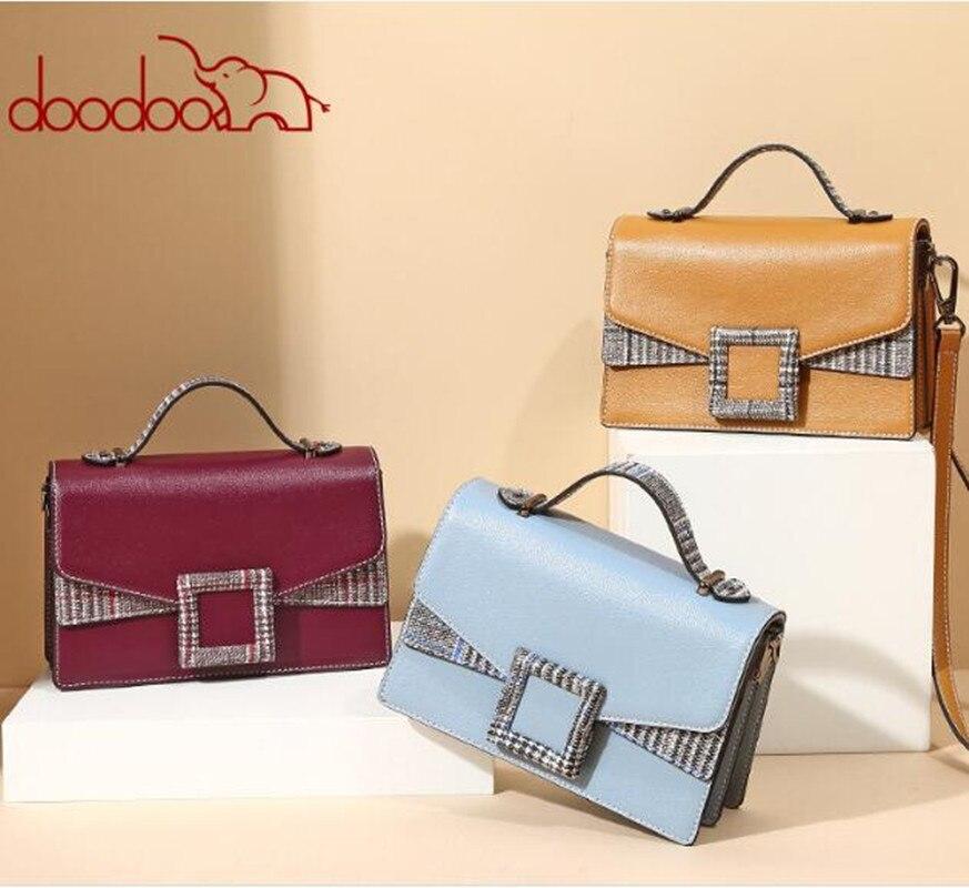 DOODOO Women Messenger bag British Style Patchwork Plaid Vintage Chain Flap Casual Ladies Leather Handbag bolsa FR646 все цены