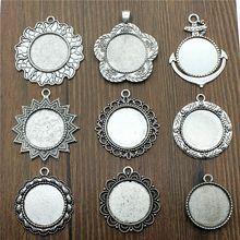 6pcs/lot Fit 25mm Round Glass Cabochon Base Setting Pendant Tray For Jewelry DIY Making Antique Silver Color FM4031(China)