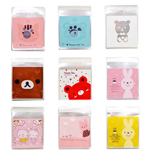 25/50pcs 10x10cm Cute Cartoon Gifts Bags Cookie Packaging Self-adhesive Plastic For Biscuits Candy Food Cake Package