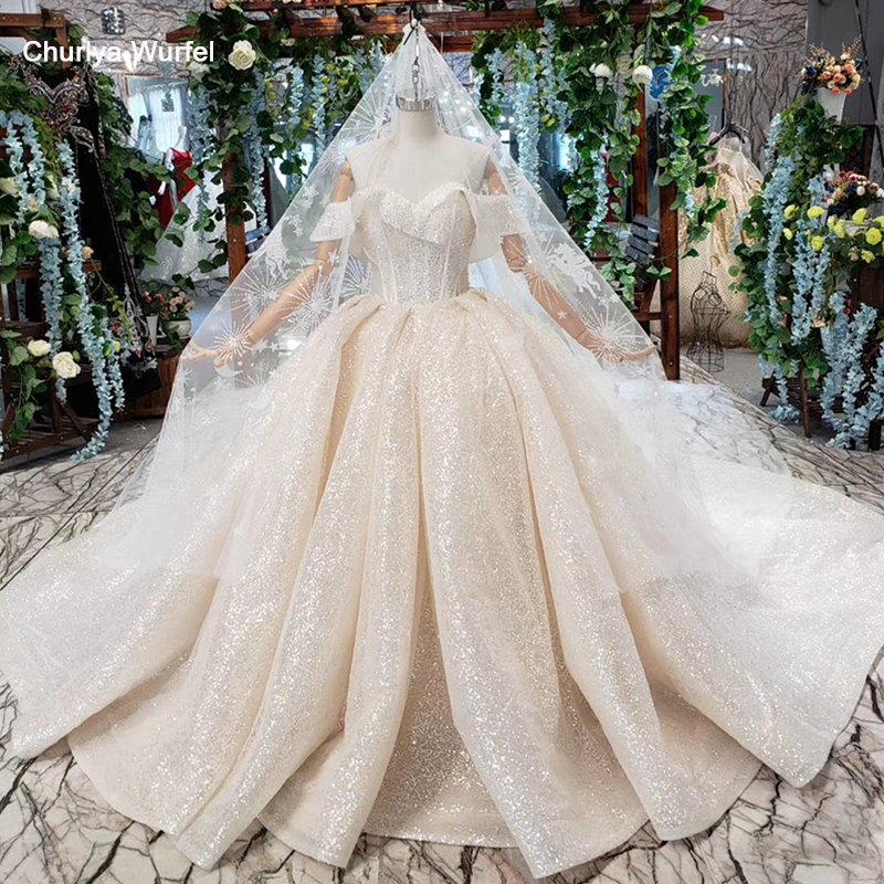 HTL432 shiny wedding dresses with glitter off the shoulder special neck sparckly wedding gowns 2019 new fashion robe de mariee-in Wedding Dresses from Weddings & Events