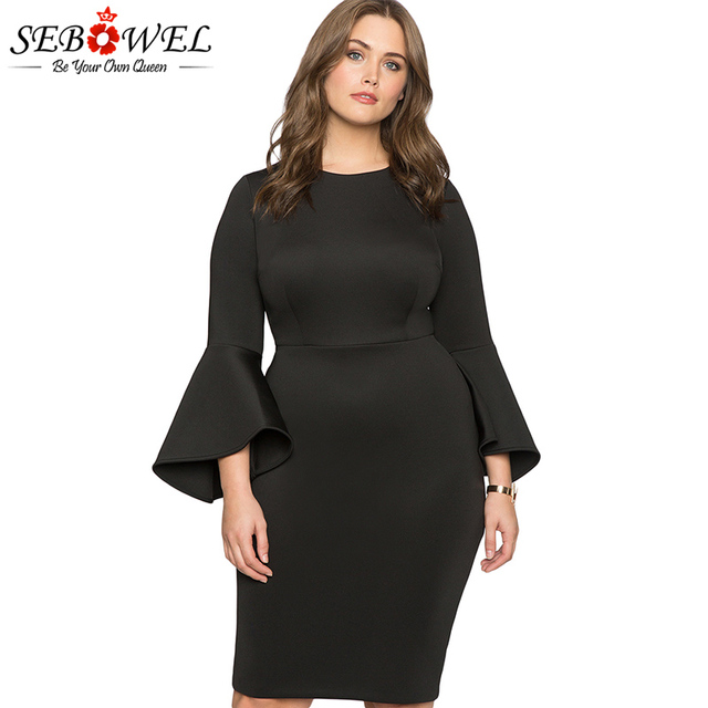c331b87f523 SEBOWEL Plus Size Black Flare Sleeve Bodycon Party Dress Women Autumn Elegant  Big Size Evening Gown for Female Office Lady Dress
