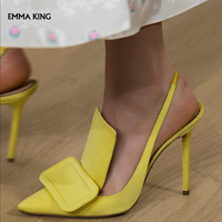 New Spring Pointed Toe High Heels Slingback Runways shoes woman Pumps Stilettos Ankle Buckle Strap Sweet Casual Sandals Woman