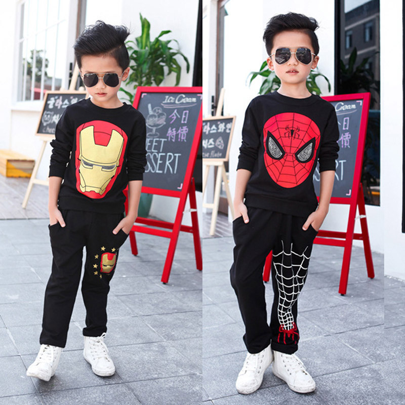 Boys' Spiderman Ironman Hoodie Sweatshirt Children's Clothing Set Long Sleeve Cartoon Children Two Piece Suit Autumn Clothes 22 худи boys hoodie