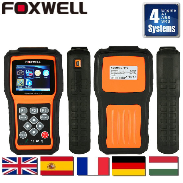 Auto Diagnostic Scanner Foxwell NT414 scanner automotivo 4 Systems For ECU ABS  Airbag And Transmission same launch creader viii