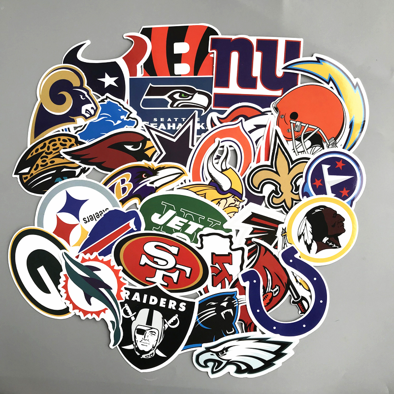 32pcs NFL American Football Stickers For Luggage Laptop Notebook Skateboard Car Moto Phone PVC Waterproof Toy Sticker