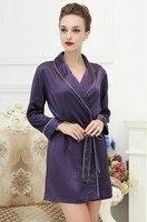 100% шелк тутового шелкопряда пижамы тяжелый шелк Женщины Халат обычный бытовой принять Глубокий фиолетовый Большие Размеры M XXXL