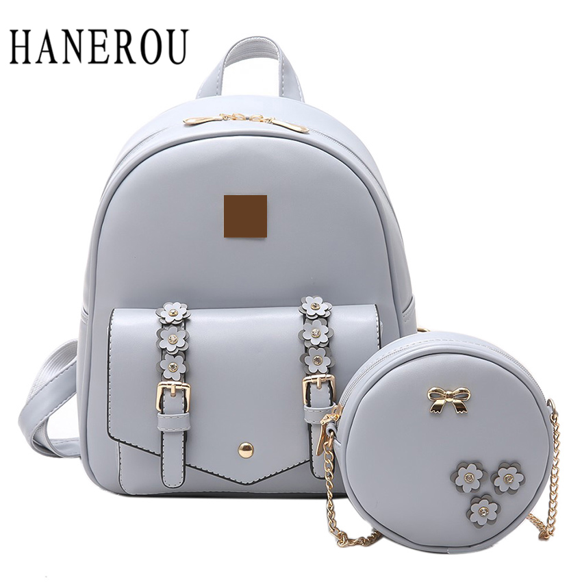 2018 Fashion Flowers Backpack Women Bag 2 Pcs School Bags For Girls Backpacks New Belt Shoulder Bags Top PU Leather Backpack children school bag minecraft cartoon backpack pupils printing school bags hot game backpacks for boys and girls mochila escolar