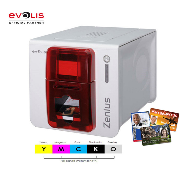 Evolis zenius PVC id card printer single side replacement pebble 4 printer come with a color ribbon for free evolis r5f005saa for use with the evolis primacy id pvc card pritners update to r5f008saa