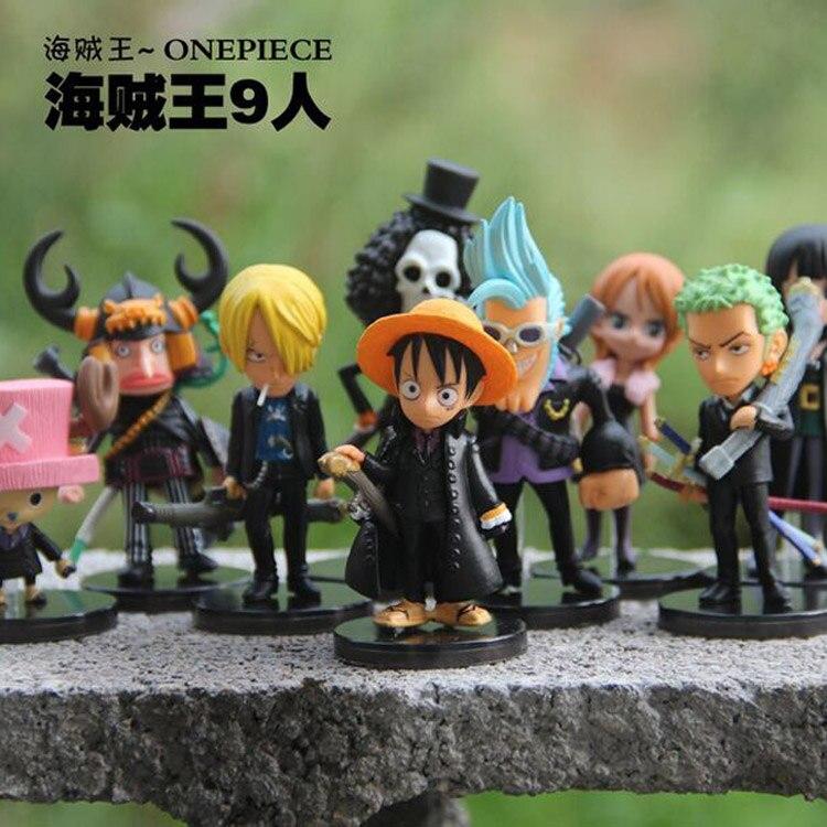 Anime One Piece Bra PVC 9 stilar Black Suit Action Figur Mini Robin Luffy Zoro Modell Toy Anime Present Dekoration Samlarobjekt