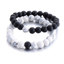 2Pcs/Set Couples Distance Bracelet Classic Natural Stone White and Black Yin Yang Beaded Bracelets for Men Women Best Friend Pop