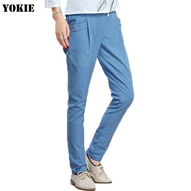 cff5b5bad99 Cotton Linen harem pants women loose high elastic waist casual trousers  female calcas femininas pantalon femme woman pants