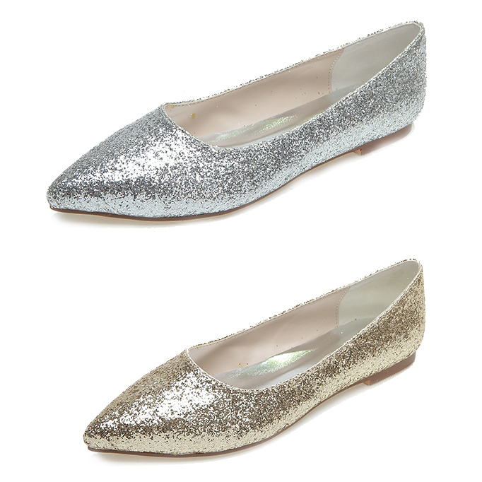 Genial Creativesugar Gold Silver 3D Glitter Pointed Toe Flats Woman Casual Neutral  Theme Wedding Bridal Shoes Party Prom Slip On Shoes In Womenu0027s Flats From  Shoes ...
