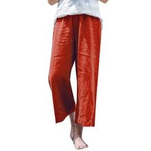Women Cotton Linen Wide Leg Pants Elastic Waist Solid Streetwear Summer Pantalon Large Femme Casual 5XL Plus Size Loose Trousers