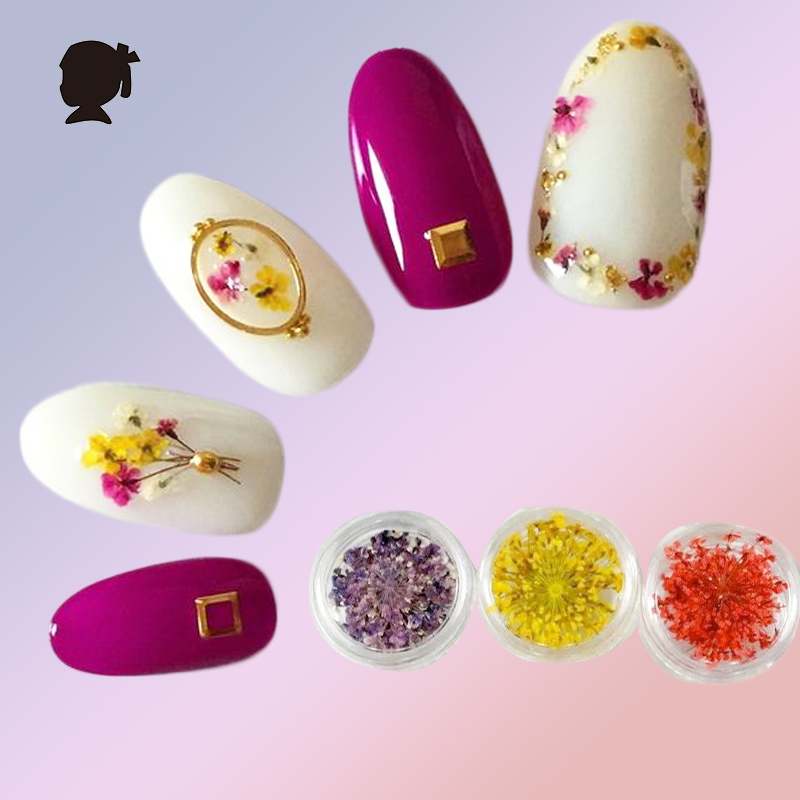 Aliexpress Buy 12 Colours Pressed Flowers Nail Japanese Nail
