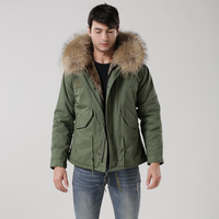 New arrival male down parka in army green with natural fake fur lined UK stylish Mr and Mrs fur coat