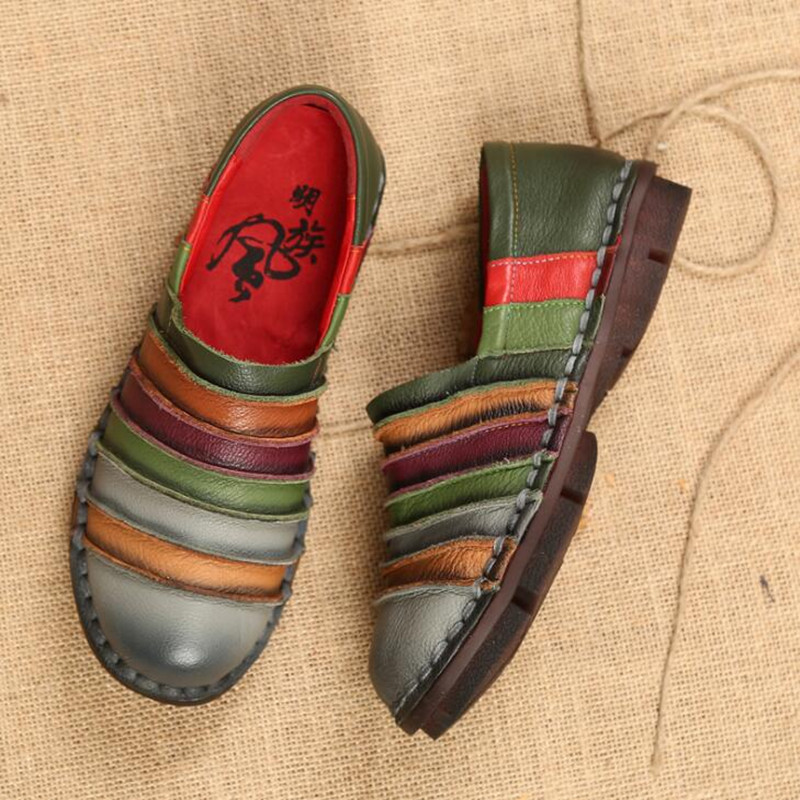 2019 Neue Heiße Weiche Casual Frauen Schuhe Leder Ethnischen Stil Retro Flache Schuhe Frühling Sommer Mode Komfortable Mom Einzel Schuhe Einfach Zu Reparieren