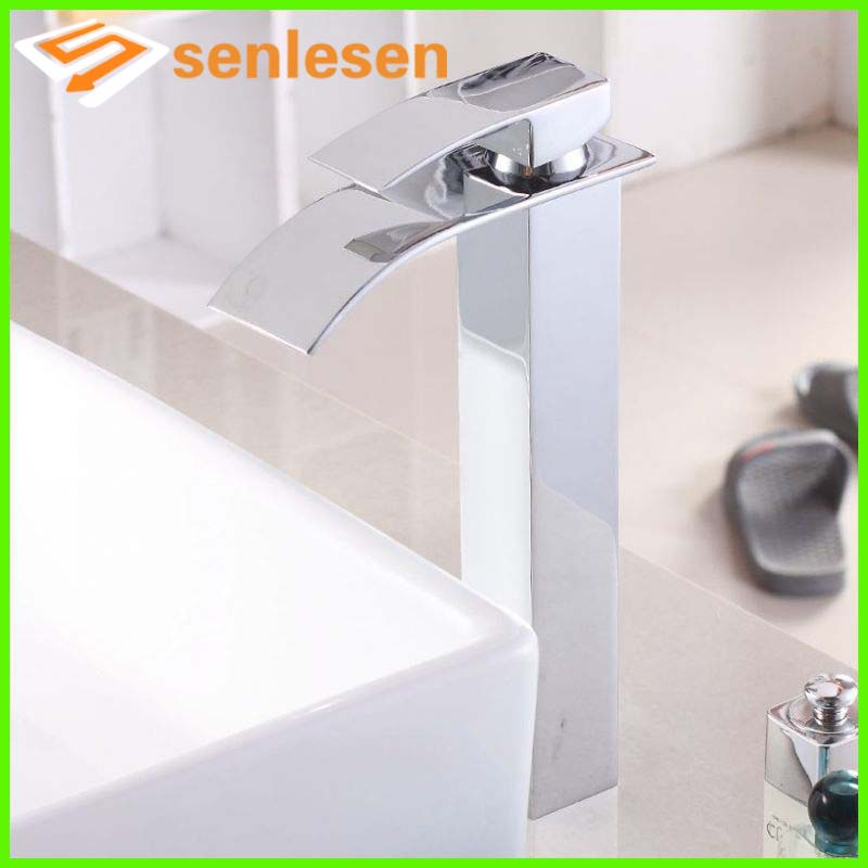 Wholesale And Retail Free Shipping Tall Square Waterfall Bathroom Basin Faucet Single Handle Hole Vanity Sink Mixer Tap wholesale and retail free shipping waterfall spout solid brass bathroom basin faucet single handle hole vanity sink mixer tap