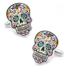 Запонки с черепом сахарные мертвецы Скелет Дизайн гипербола стиль запонки