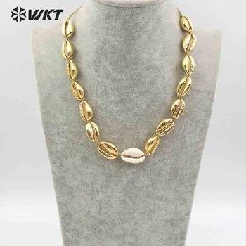 e9ba9f92a443 WT-JN039 WKT al por mayor natural mar conchas collar hecho a mano collar de  mujer con completa chapado en oro metal cadena ajustable