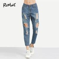 ROMWE синий рваные и потёртые Boyfriend ботильоны джинсы для женщин для повседневное Лето Осень плотная прямые брюки девочек весна мотобрюки