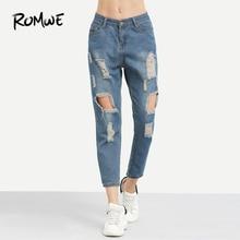 ROMWE Blue Ripped Distressed Boyfriend Ankle Denim Jeans Women Casual Summer Autumn Plain Straight Leg Pants Spring Trousers