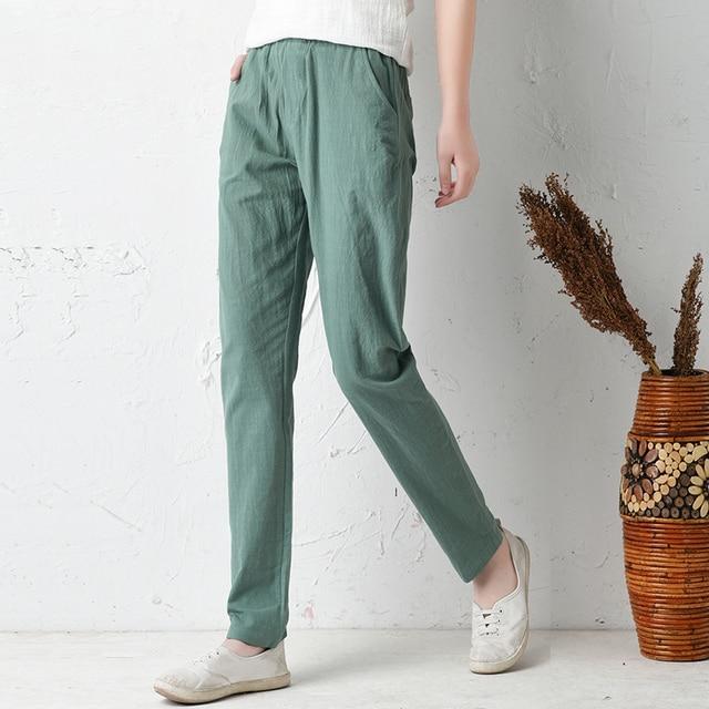 def75e82174f8f 2018 summer cotton linen baggy pants women plus size loose harem pants  casual cargo sarouel trousers women pantalon femme