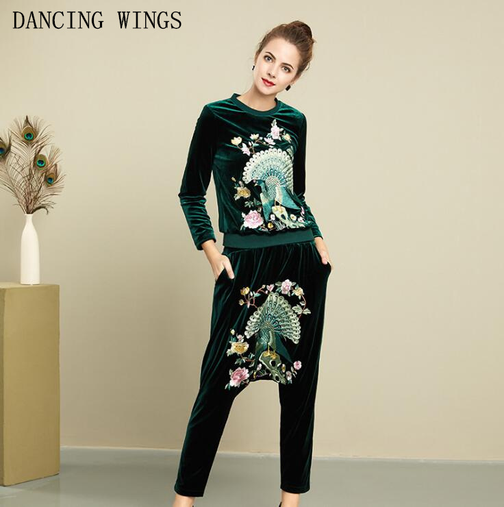 women suit velvet set 2018 peacock embroidery velvet hoodie long sleeve sweatshirt + casual harem pants woman tracksuit 2 pieces