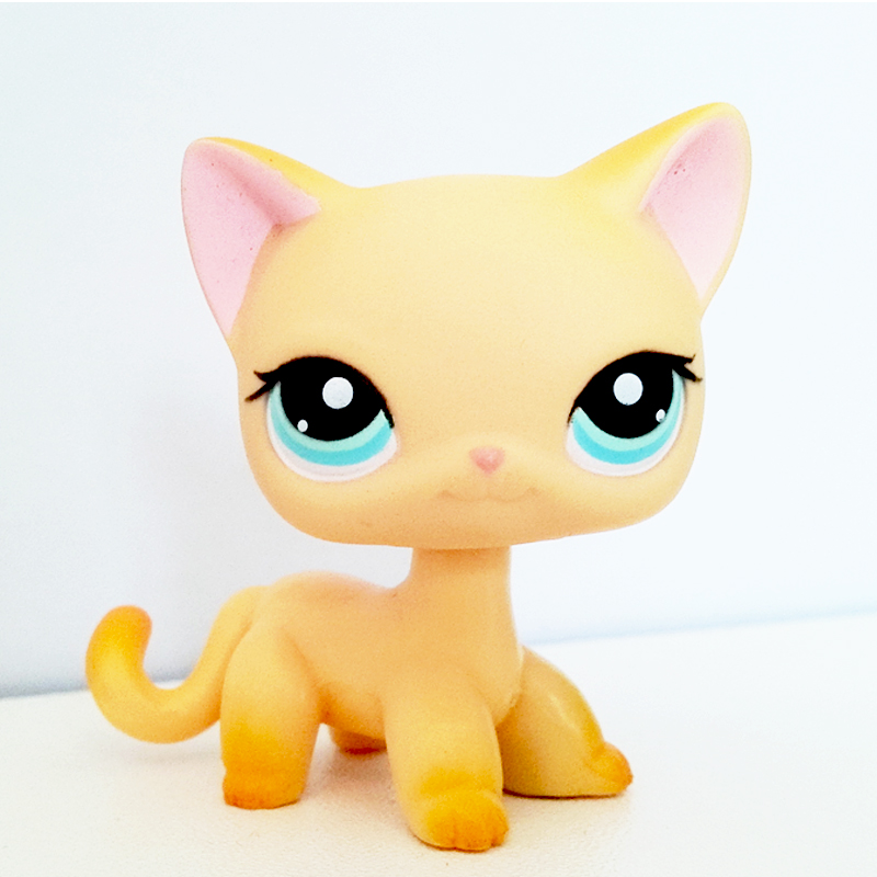 real pet shop lps toys standing rare littlest short hair cat #339 yellow Kitten Blue Eyes original animal toys collection new pet genuine original lps 64 rare pink white short hair cat kitty blue eyes collection figure toys
