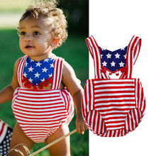 Newborn Girl 4th of July Backless Romper Jumpsuit