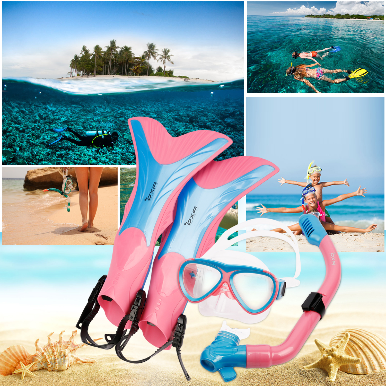 OXA Kids Snorkel Swimming Goggles & Diving Mask Snorkel Glasses & Flippers Set Silicone Professional Scuba Diving Equipment
