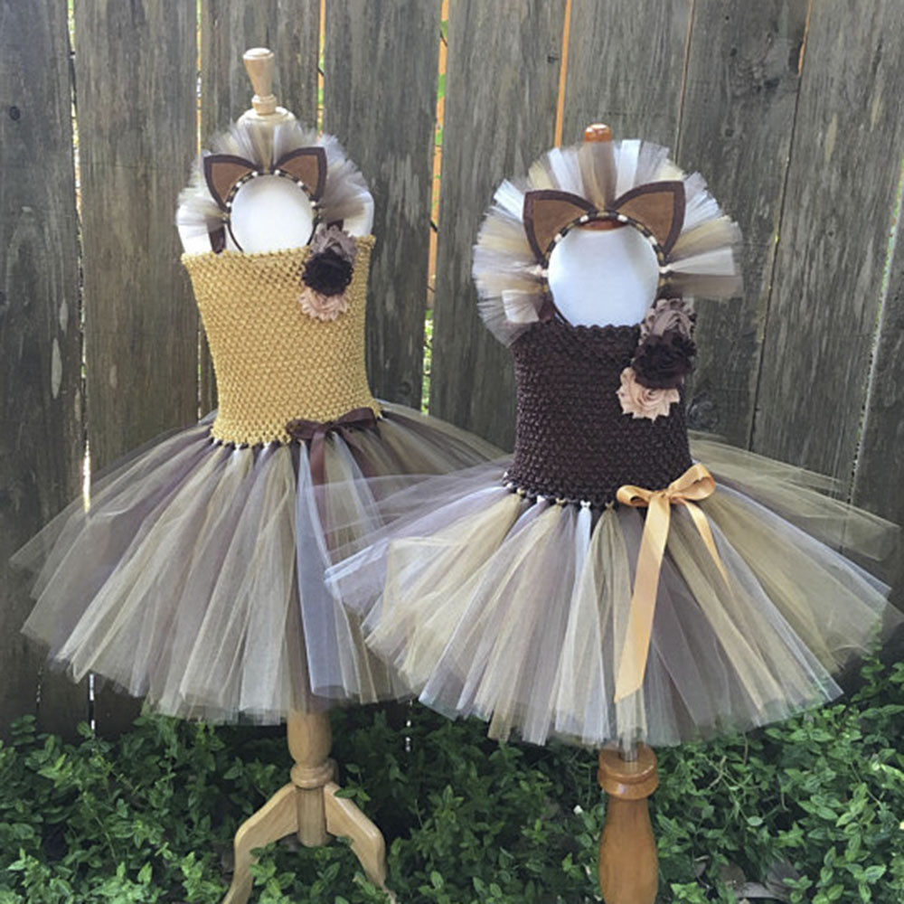 Lion Costume Cosplay Tutu Dress Baby Girl Birthday Party Tutu Dress Flower Dresses For Christmas Halloween Photos With Heaband 1set baby girl polka dot headband romper tutu outfit party birthday costume 6 colors