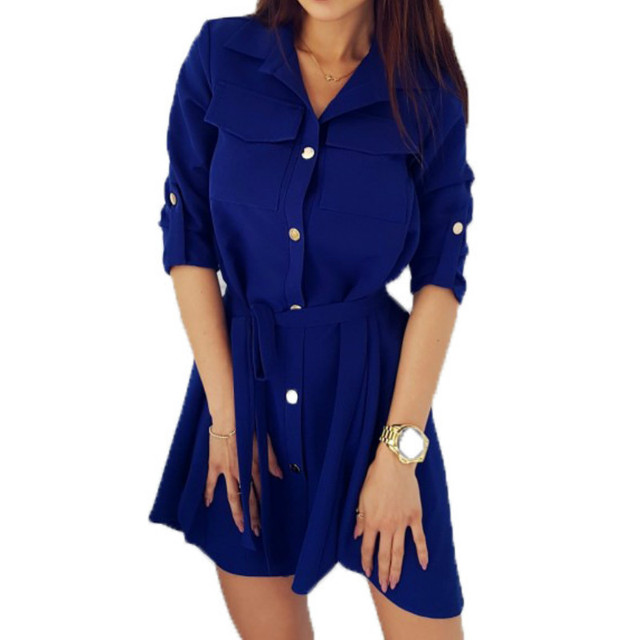 406076a4e0 Moda camisas vestido giro-abajo Collar de primavera otoño vestidos XXL  botones sueltos mujeres vestidos