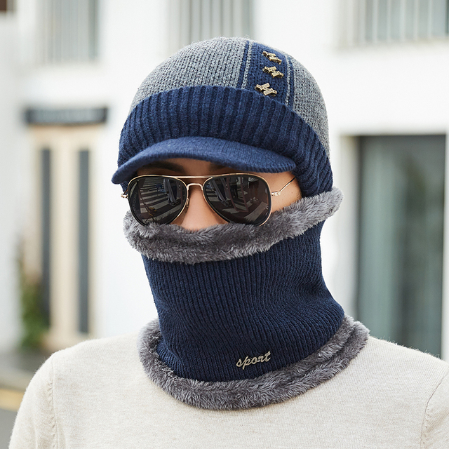 75301e821d1 High Quality Cotton Add Fur Brim Winter Hats Skullies Beanies Hat For Men  Women Wool Scarf Caps Mask Gorras Bonnet Knitted Hat