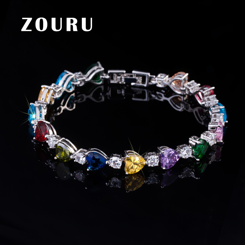 ZOURU Brand Good Fashion White Gold Plate Link Chains Big Heart AAA CZ Paved Bracelet &Bangles For Women Gift Promotional Items canon 737