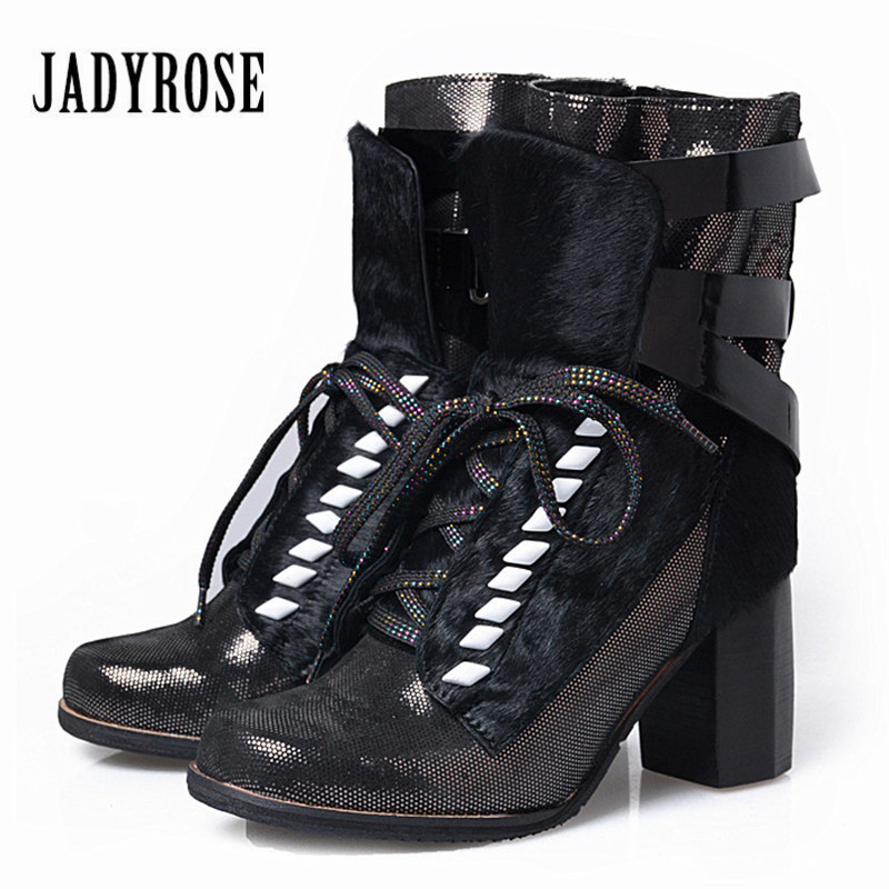 Jady Rose Horsehair Ankle Boots for Women Straps Lace Up Chunky High Heel Boots Autumn Winter Gladiator Ladies Shoes Platform 2015 winter autumn new lace cross straps
