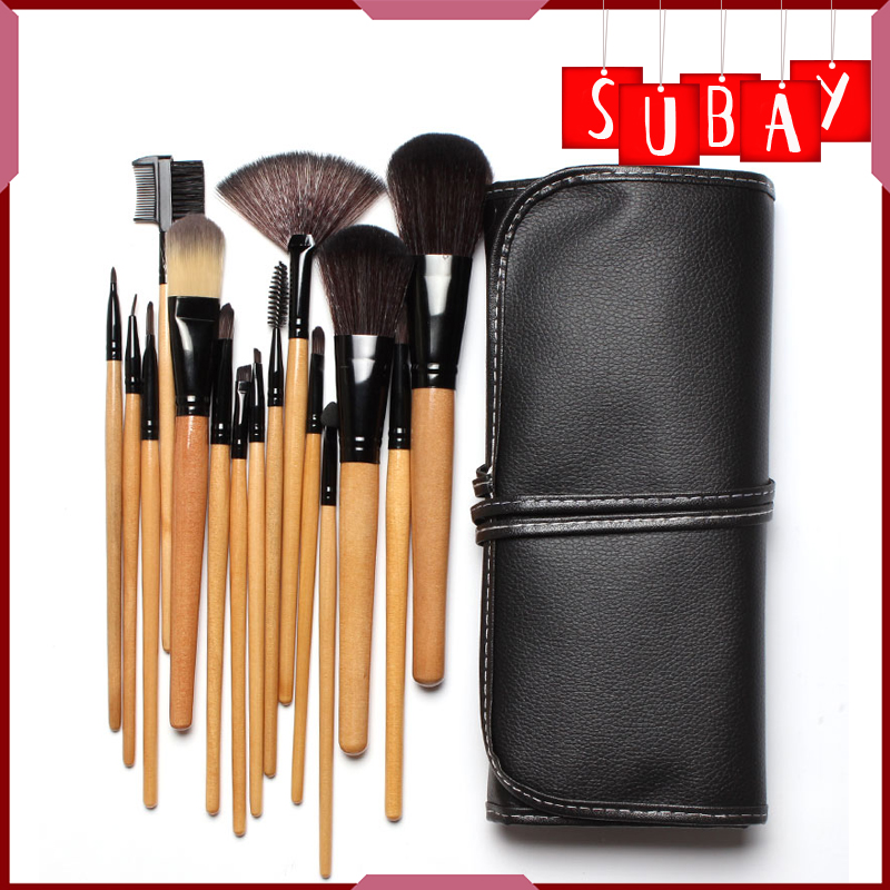 Free shipping !! 15 pcs Soft Synthetic Hair make up tools kit Cosmetic Beauty Makeup Brush Black Sets with Leather Case free shipping 15 pcs soft synthetic hair make up tools kit cosmetic beauty makeup brush black sets with leather case