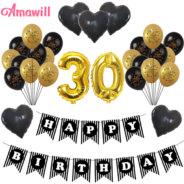 Amawill Adult 30 Years Old Birthday Party Decoration Gold Happy Black Heart Balloon Banner For