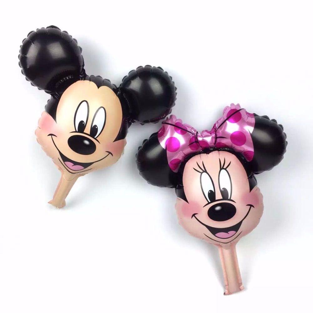 50pcs/lot Mini Mickey Minnie Mouse Head Balloons Red Minnie Foil Helium Ballons Birthday Party Decorations Kids Toys