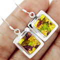 Hand make  Genuine Stichtite Earrings, 100% 925 Sterling Silver, 35MM, 6.4G,  AE0309