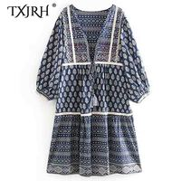 TXJRH Vintage Ethnic Floral Print Embroidery Bohemian Long Kimono Cardigan Blouse Shawl Shirt V Neck Tied Bow Tassel Tops Blusas