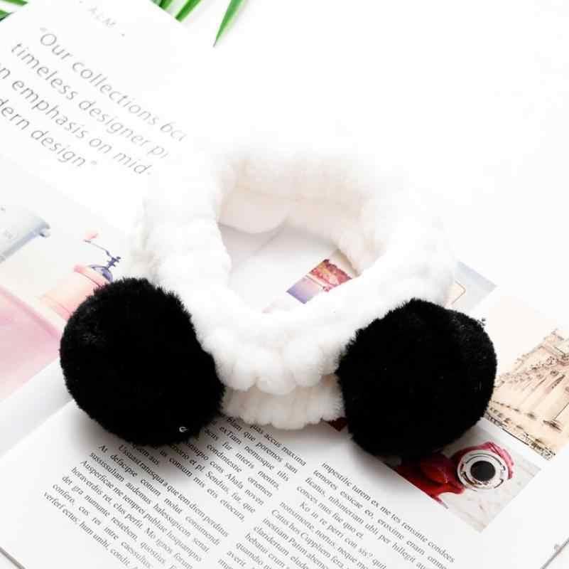 Helisopus корейский эластичный Милый Панда ухо мягкая Carol флисовая женская головная повязка макияж душ мытье лица Душ Спа маска на голову обертывание
