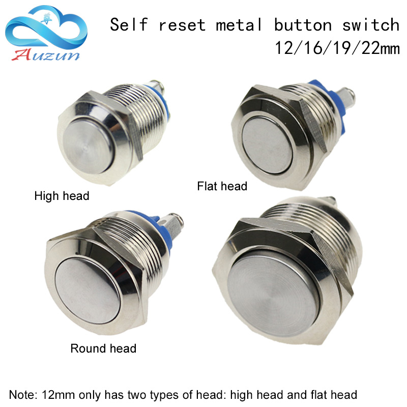 12/16/19/22MM High Quality Metal Button Switch Reset Button Doorbell Switch Screw Pin Waterproof