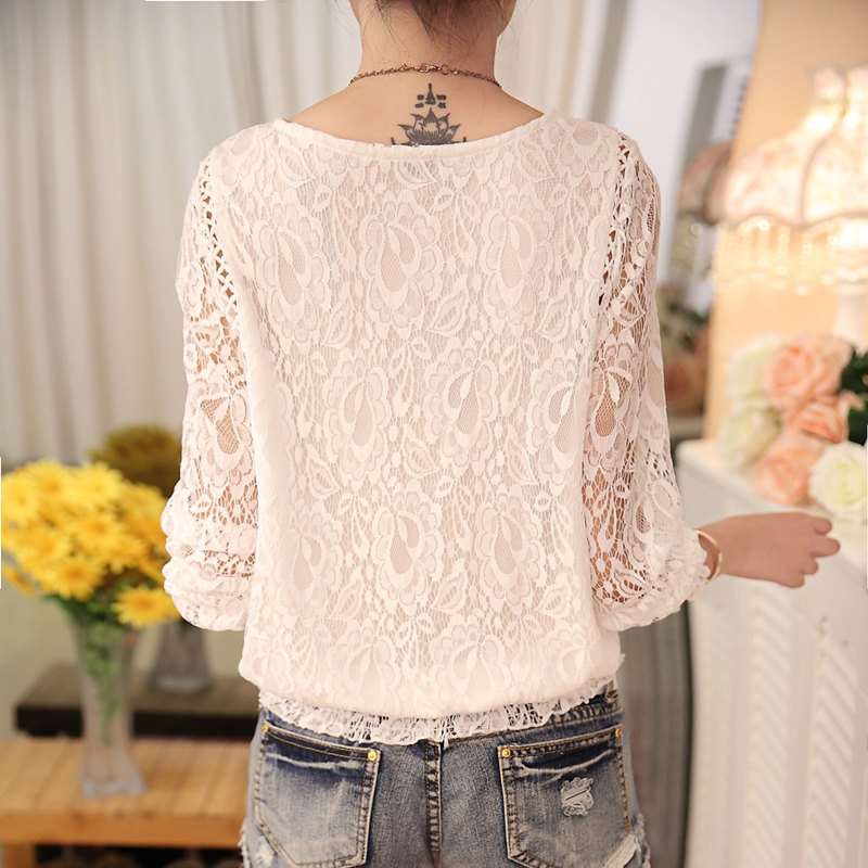 2018 New autumn Ladies White Blusas Women's Long Sleeve Chiffon Lace Crochet Tops Blouses Women Clothing Feminine Blouse 51C 4