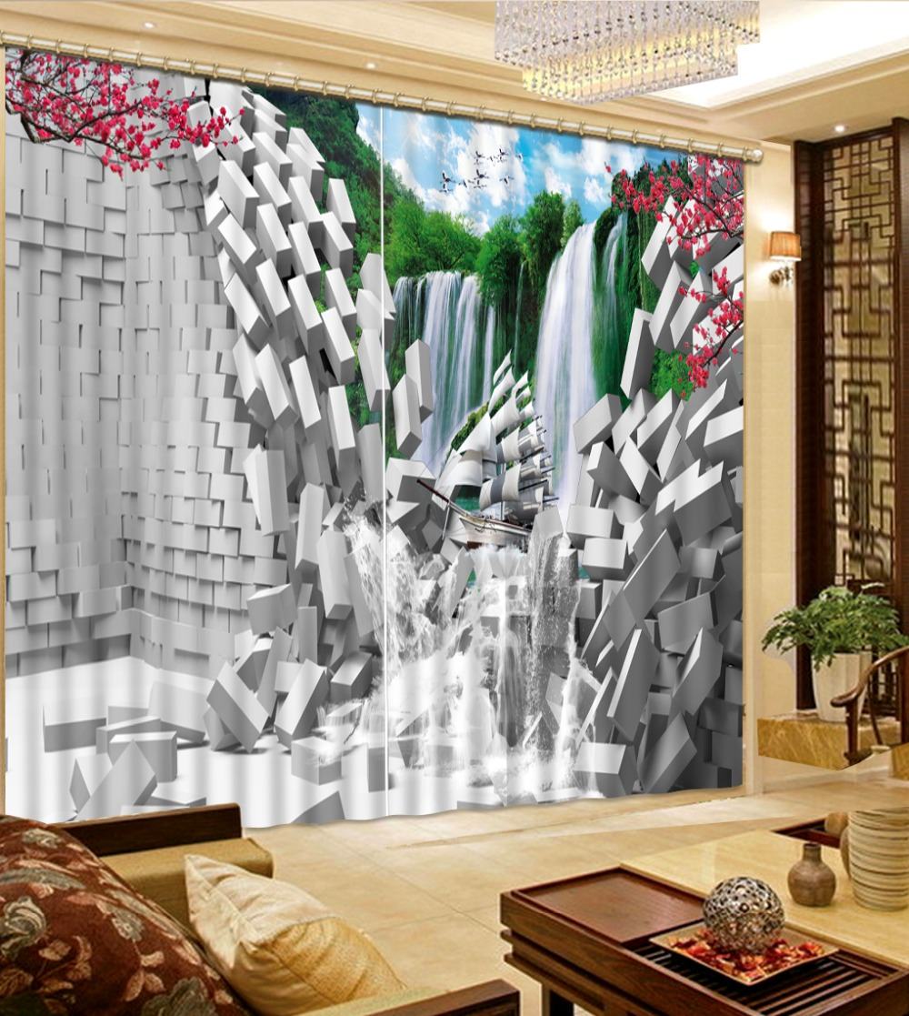 Custom 3d window curtains Living Room Broken wall waterfall  home decoration window blackout curtains Custom 3d window curtains Living Room Broken wall waterfall  home decoration window blackout curtains