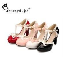6c122dde5f Shuangxi. jsd Bombas Mulher Sapatos 2019 Mulheres de Couro Da Moda Sapatos  de Salto Alto · 4 Cores Disponíveis