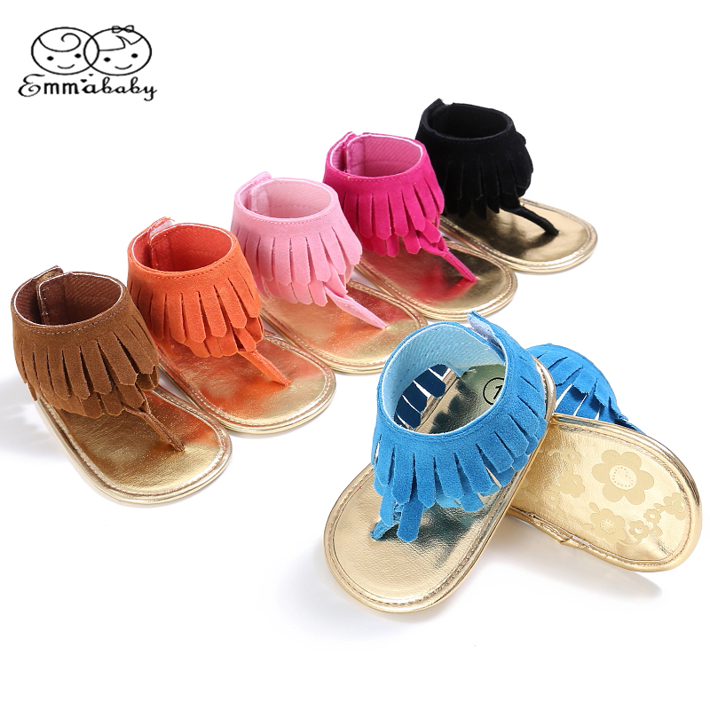 Emmababy Baby Fashion Baby Girls Tassels Summer Shoes Soft Sole Prewalkers Cool Shoes