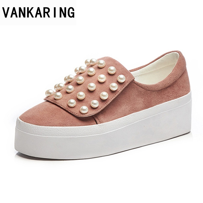 VANKARING new spring summer fashion woemn casual flats shoes platform slip on autumn shoes woman String Bead sweet style shoes xiaying smile new summer women sandals casual fashion shoes bohemian style flats ladies hollow string bead flora slip on shoes