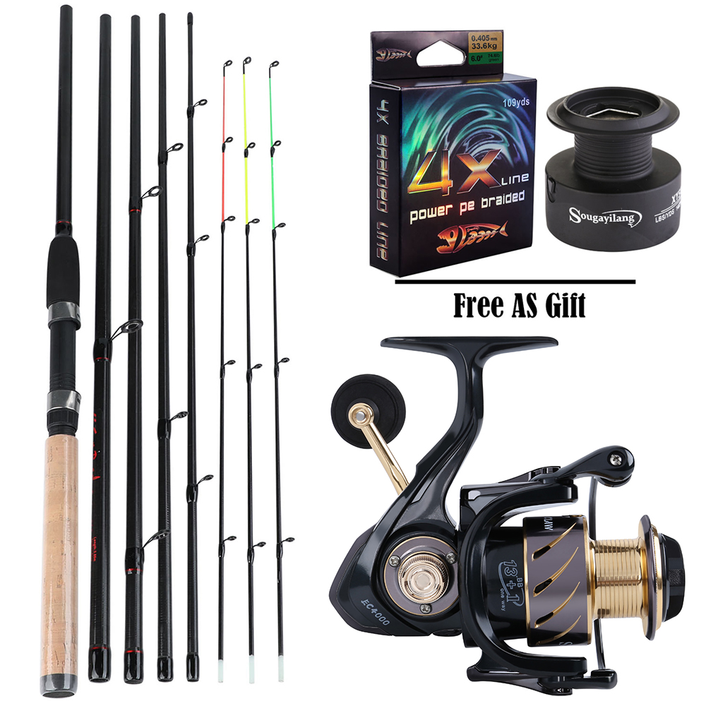 Sougayilang High-Carbon-Rod-Sets Fishing-Rod Combon-Feeder 1bb-Spinning-Reel with 13